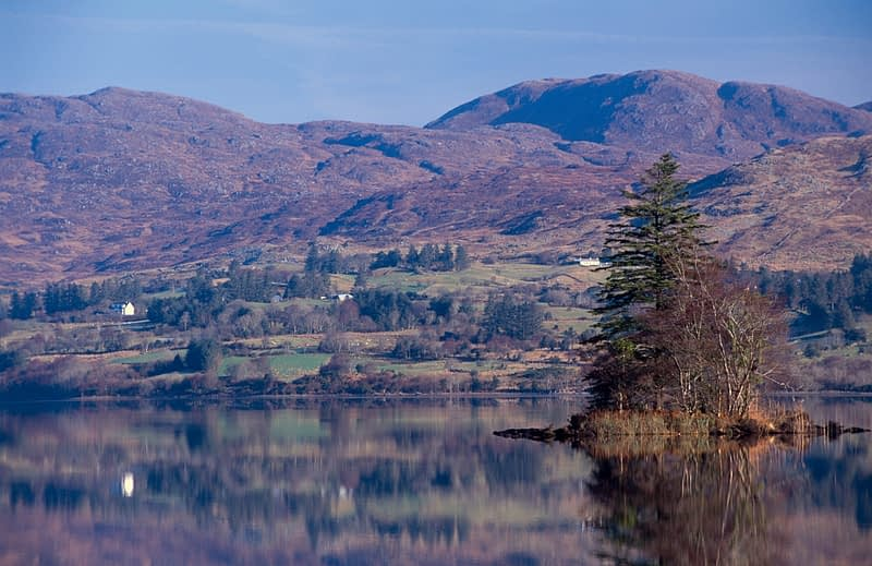 Reflections of the Bluestack Mountains, Lough Eske, Co Donegal, Ireland.