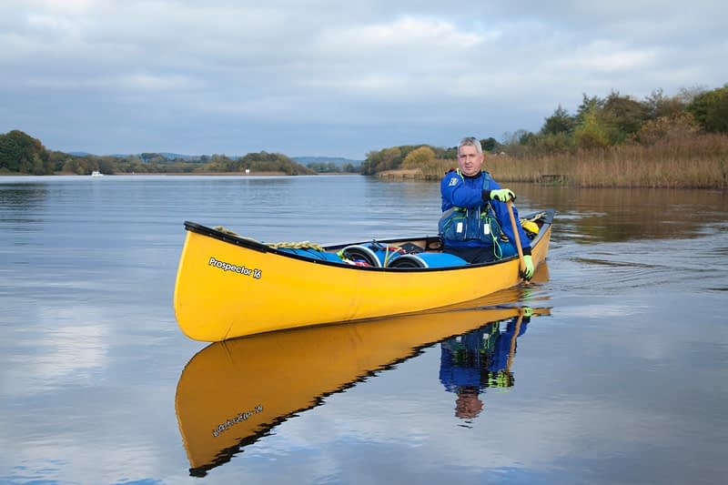 Canoeing near Bellanaleck, Upper Lough Erne, County Fermanagh, Northern Ireland.