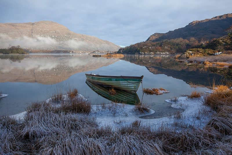 Frosty morning, Upper Lake, Killarney National Park, County Kerry, Ireland.