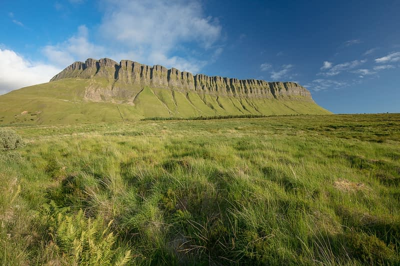 Open grassland beneath Benbulbin Mountain, County Sligo, Ireland.