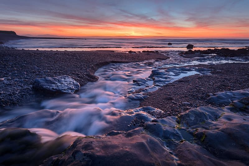 Coastal sunset over Sligo Bay, Enniscrone, County Sligo, Ireland.
