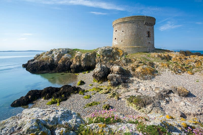 Martello Tower on Ireland's Eye, Howth Head, County Dublin, Ireland.