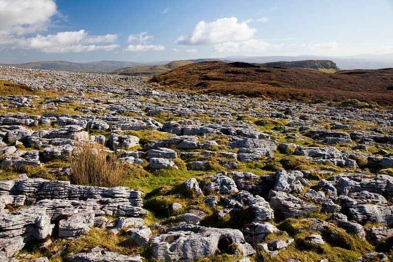 Limestone pavement on Keelogyboy Mountain, Co Leitrim, Ireland.