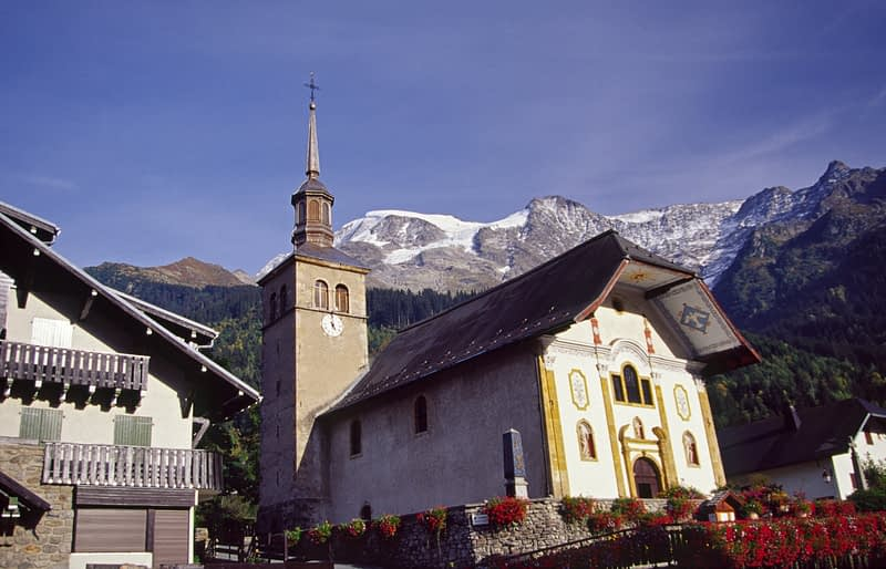 Alpine church, Les Contamines village, French Alps, France.