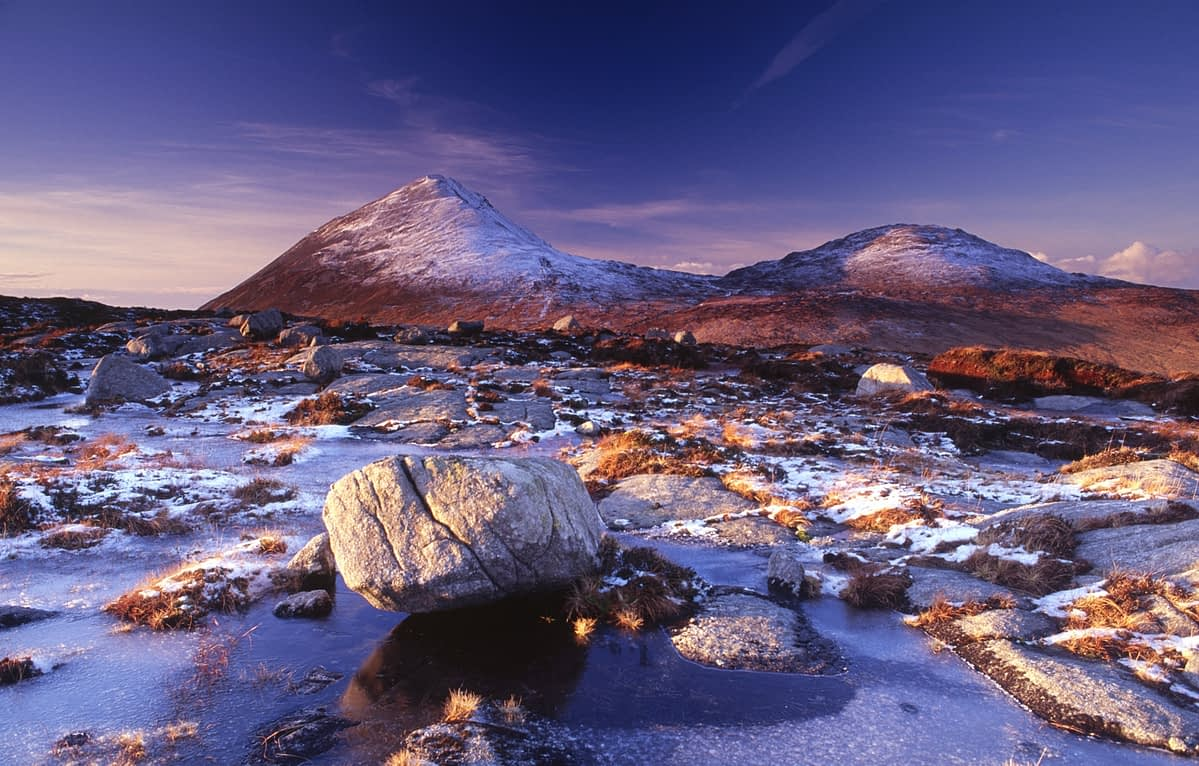 Errigal and the Derryveagh Mountains in winter, Co Donegal, Ireland.