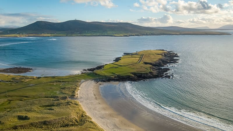 Aerial view over Binroe Point and Broadhaven Bay, Carrowteige. County Mayo, Ireland.