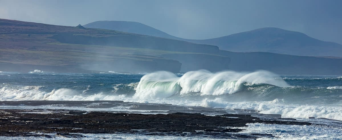 Atlantic storm waves beneath the Ceide Fields, Ballycastle, County Mayo, Ireland.
