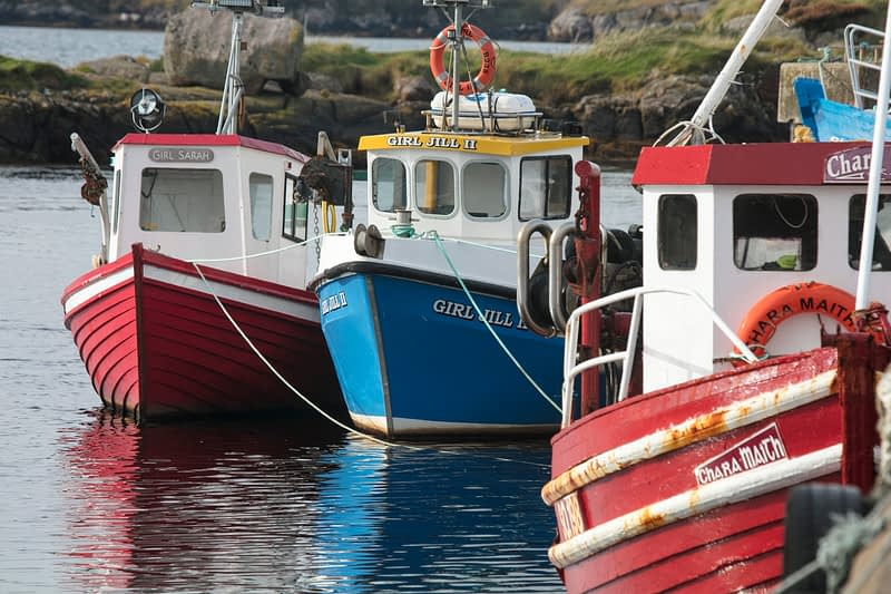 Fishing boats in Bunbeg harbour, Gweedore, County Donegal, Ireland.
