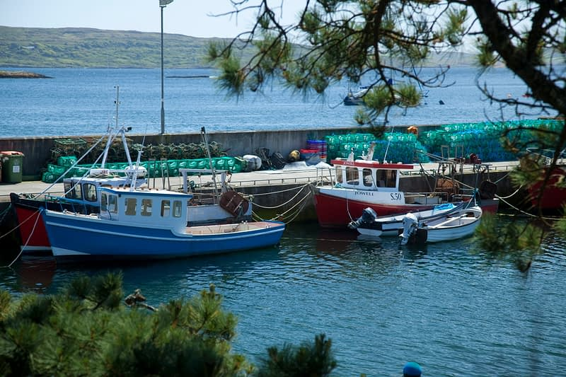 Fishing boats at Akakista pier, Sheep's Head, Co Cork, Ireland.
