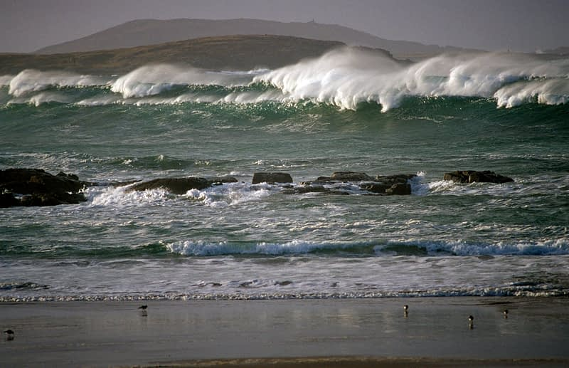 Storm waves in Ballyheirnan Bay, Fanad Peninsula, County Donegal, Ireland.