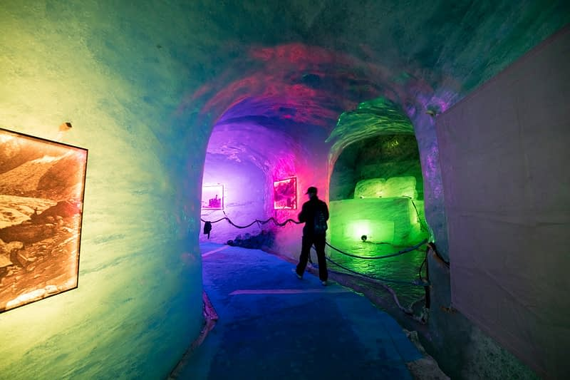 Illuminated ice cave inside Mer de Glace glacier, Montenvers, Chamonix Valley, French Alps, France.