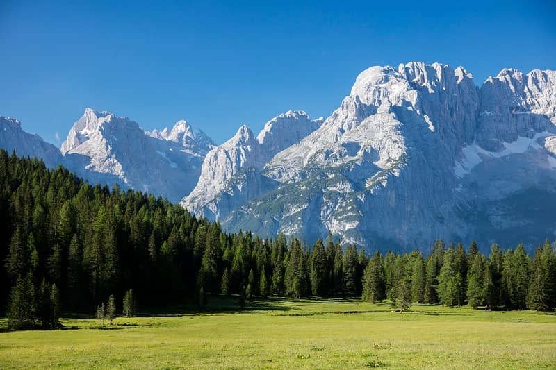 Monte Cristallo from the east, Sexten Dolomites, South Tyrol, Italy.