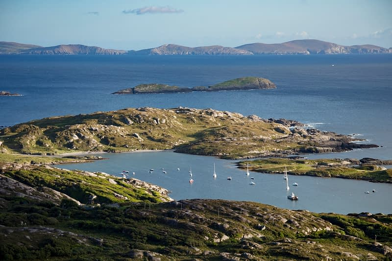 Coastal view of Derrynane Harbour, Caherdaniel, County Kerry, Ireland.