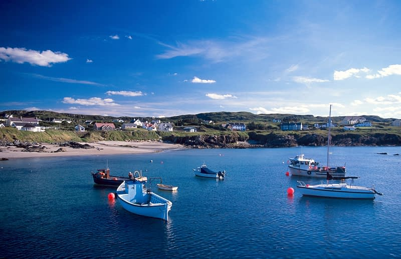 Fishing boats moored at Portnablagh, Co Donegal, Ireland.