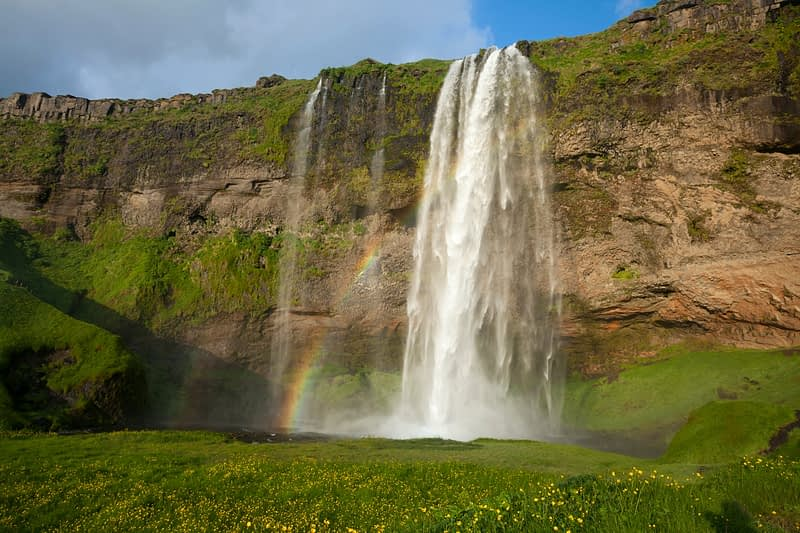 60m-high Seljalandsfoss waterfall, Sudhurland, Iceland.