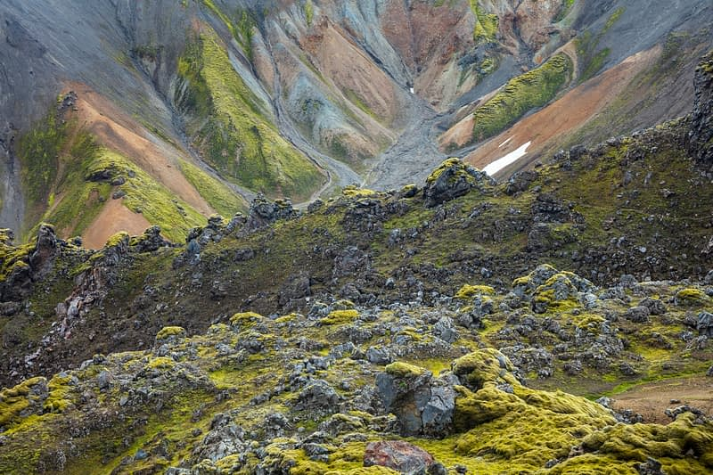 Rhyolite mountains and lava formations along the Laugavegur trail near Landmannalaugar. Central Highlands, Sudhurland, Iceland.