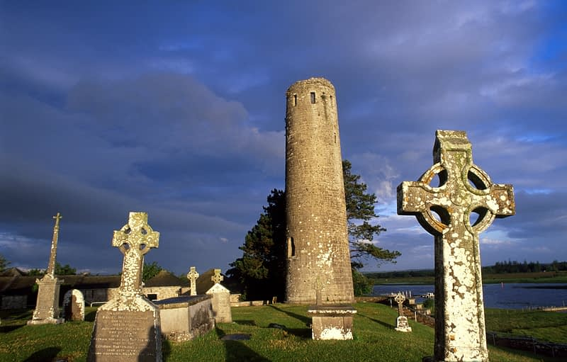 Morning light on O'Rourke's Round Tower, Clonmacnoise, Co Offaly, Ireland.