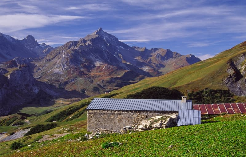 Alpine farm hut above Les Chapieux, French Alps, France.