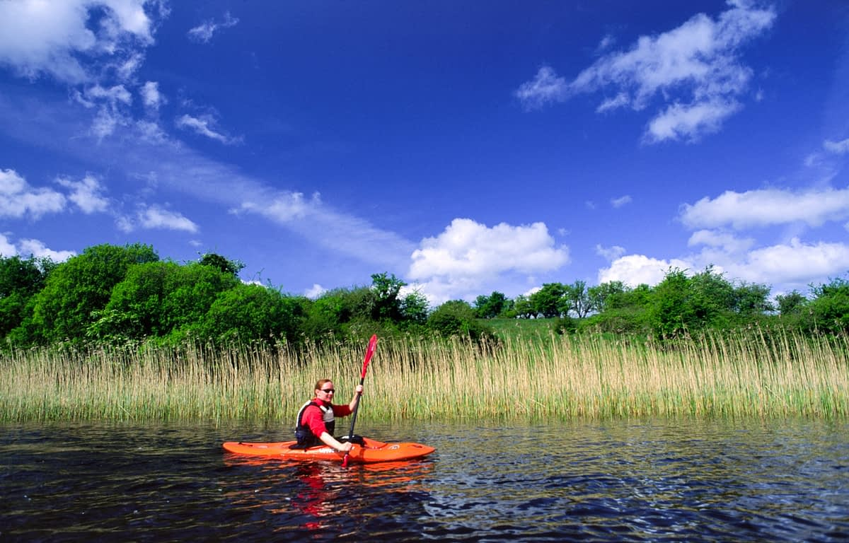 Kayaking on Lower Lough Erne, Co Fermanagh, Northern Ireland.