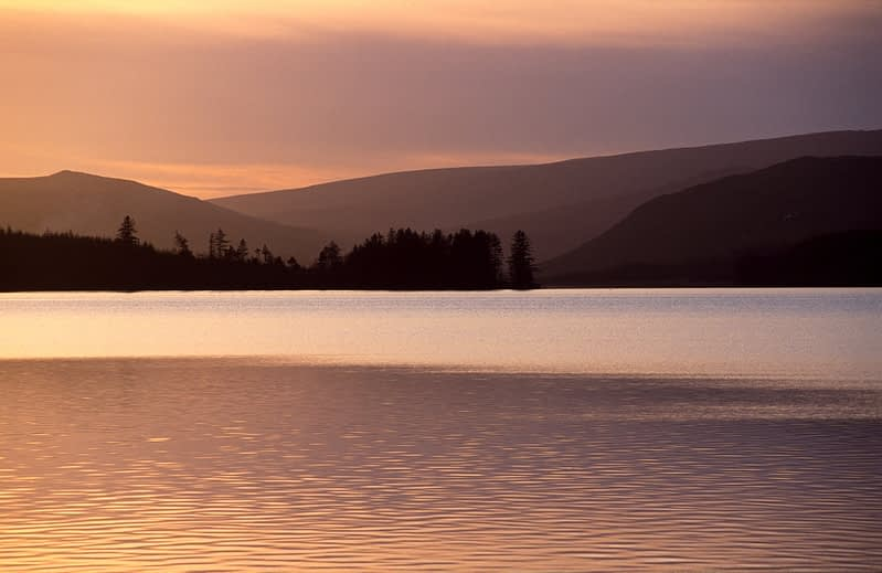 Evening light over Gartan Lough, County Donegal, Ireland.