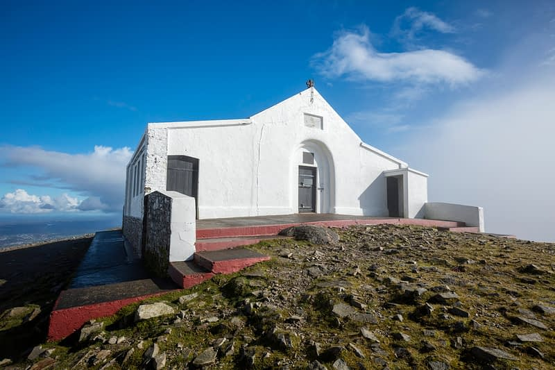Church at the summit of Croagh Patrick, County Mayo, Ireland.