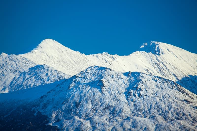 Winter view of Carrauntoohil from the west, MacGillycuddy's Reeks, County Kerry, Ireland.
