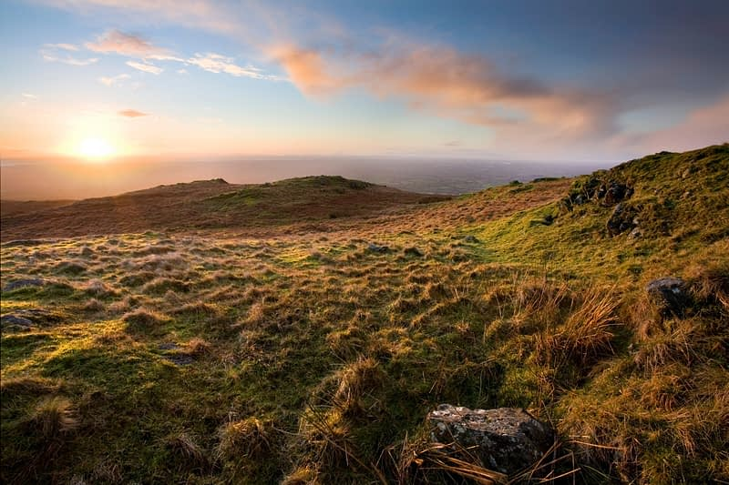 Sunset over the slopes of Slieve Gallion, Co Derry, Ireland.