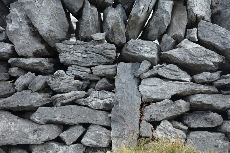 Detail of traditional stone wall, The Burren, County Clare, Ireland.