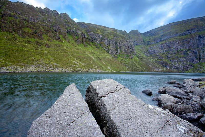 Split rock on the shore of Coumshingaun Lough, Comeragh Mountains, County Waterford, Ireland.
