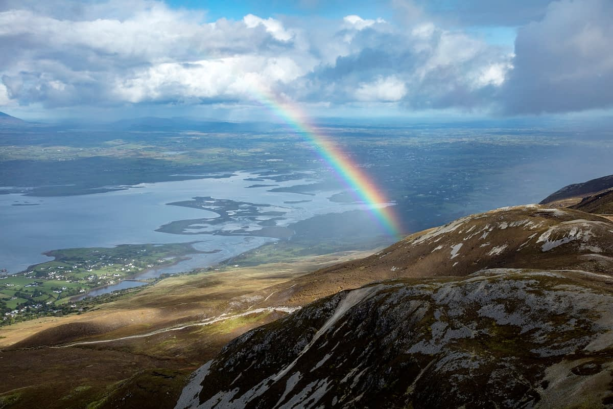 Rainbow over Croagh Patrick and Clew Bay, County Mayo, Ireland.