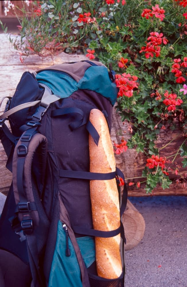 Backpack and baguette, France.