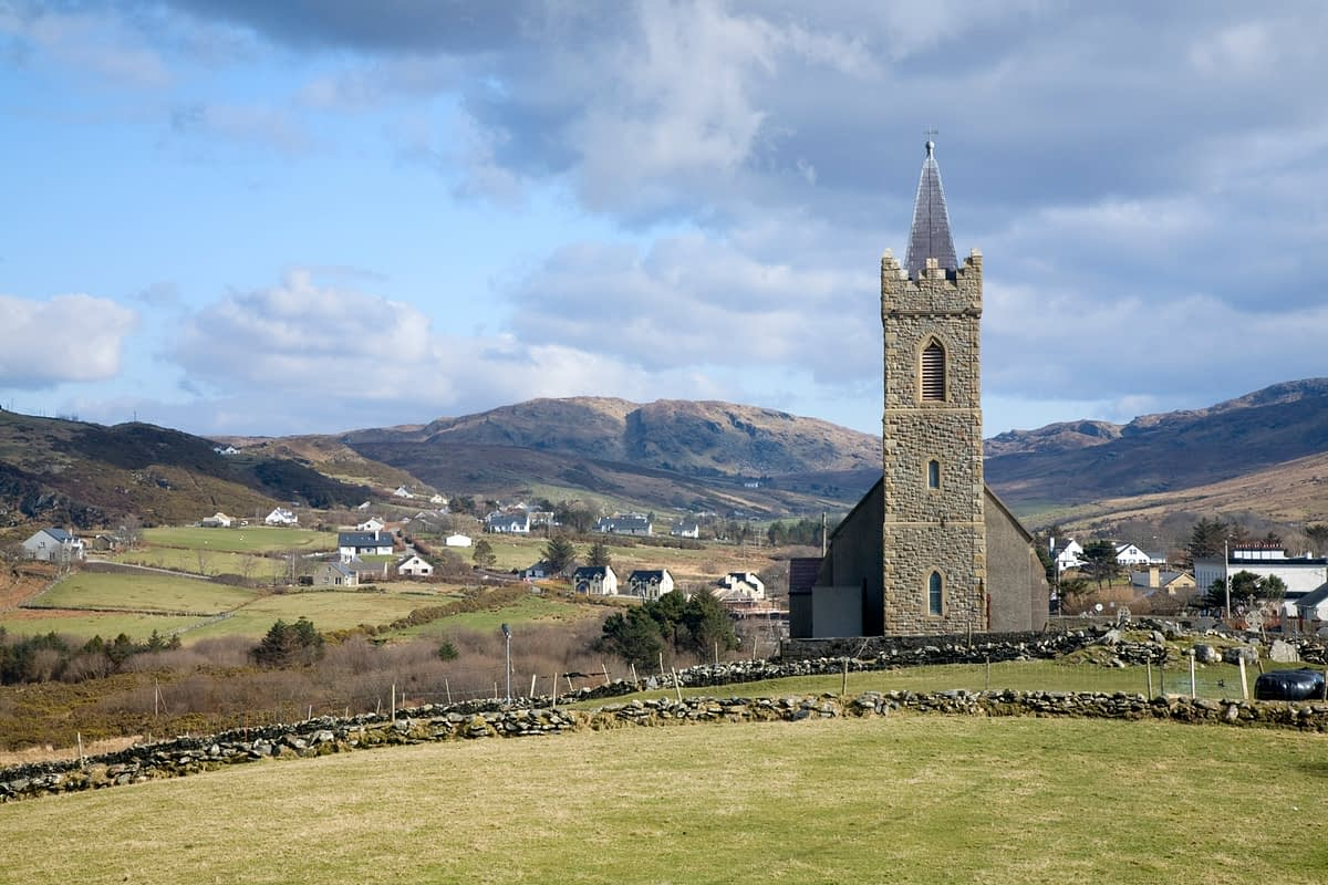 St Columba's Church in the heart of Glencolmcille, Co Donegal, Ireland.