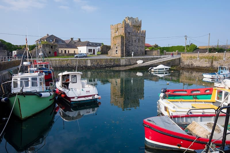 Slade Castle and harbour, Hook Peninsula, County Waterford, Ireland.