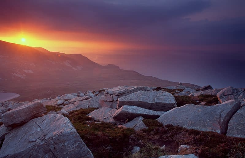 Sunset over Slievetooey, Co Donegal, Ireland.