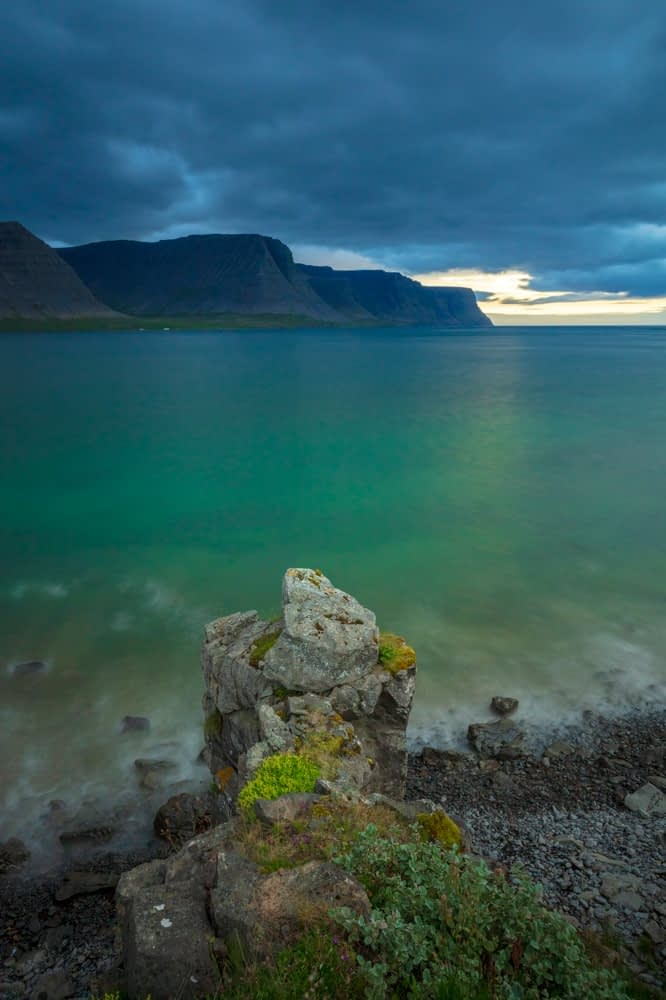 Coastal view across Patreksfjordur to the Latrabjarg Peninsula. Westfjords, Iceland.