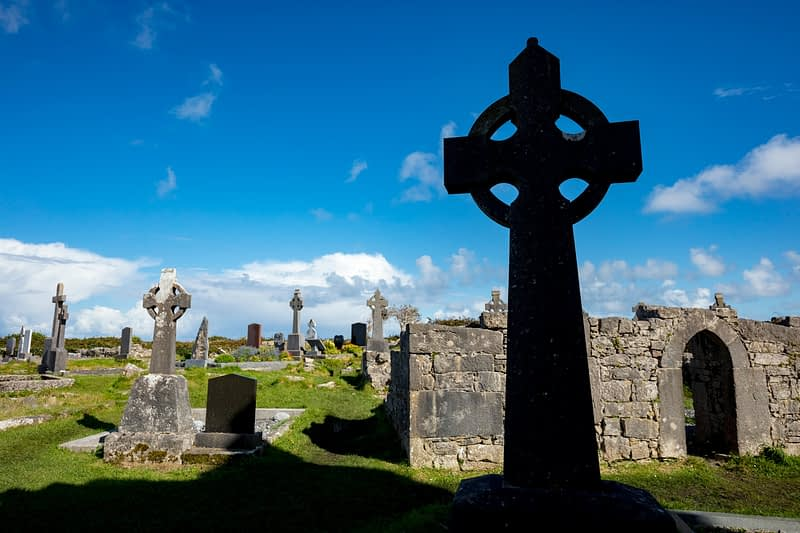 Celtic crosses in the cemetery of The Seven Churches, Inishmore, Aran Islands, County Galway, Ireland.