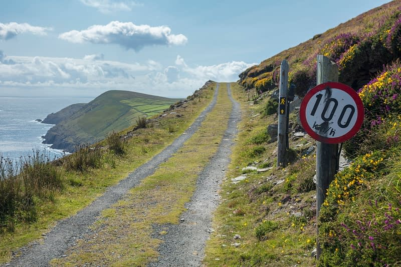 Quirky speed sign, Dursey Island, Beara Peninsula, County Cork, Ireland.