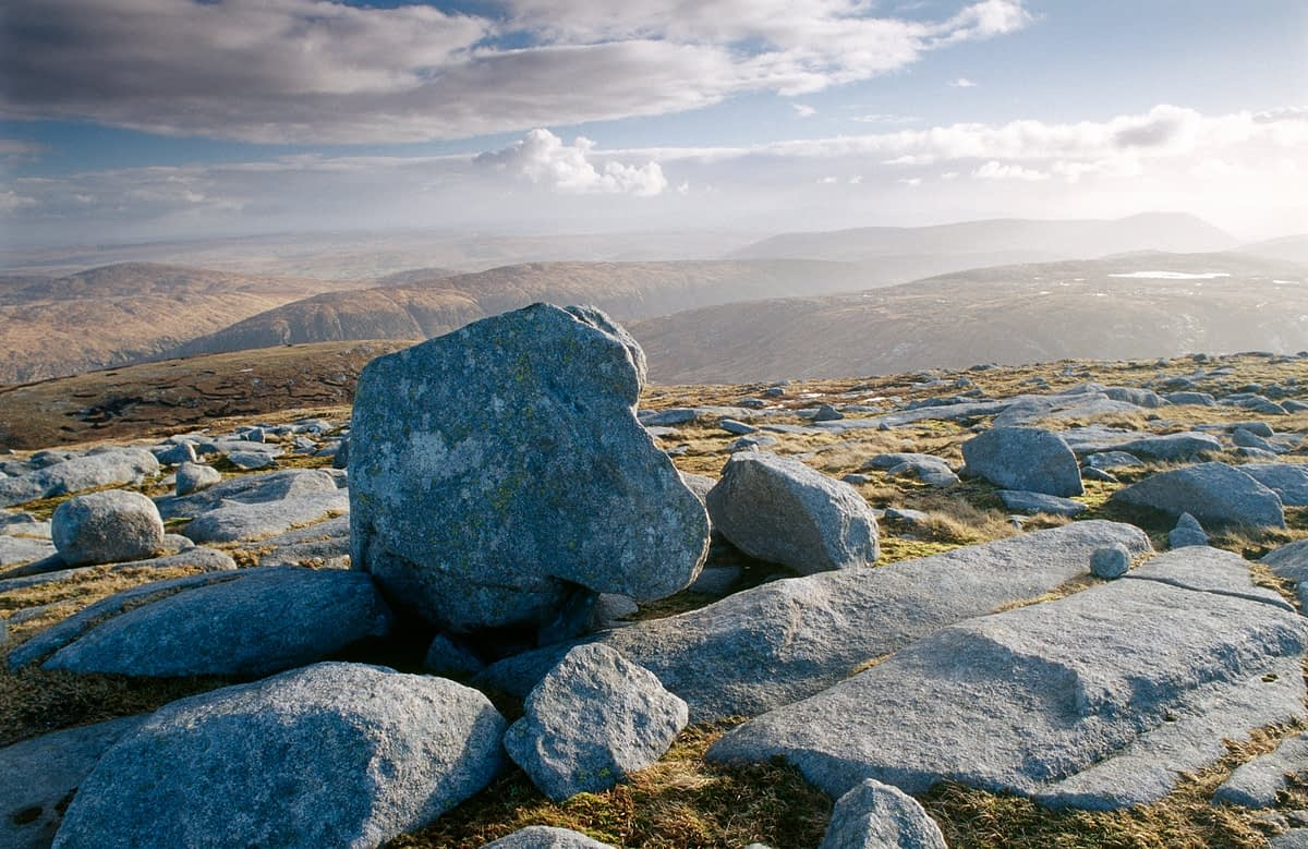 Granite bounders on the summit of Dooish Mountain, County Donegal, Ireland.