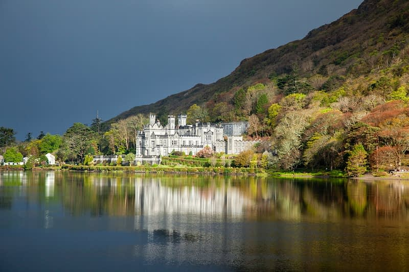 Reflection of Kylemore Abbey, Connemara, Co Galway, Ireland.