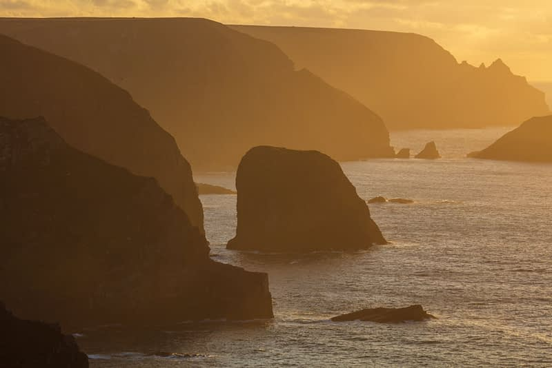 Evening light along the north Mayo sea cliffs, County Mayo, Ireland.