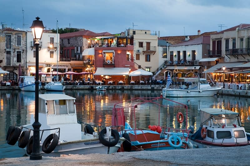 Evening in the Venetian harbour, Rethymnon, Crete, Greece.