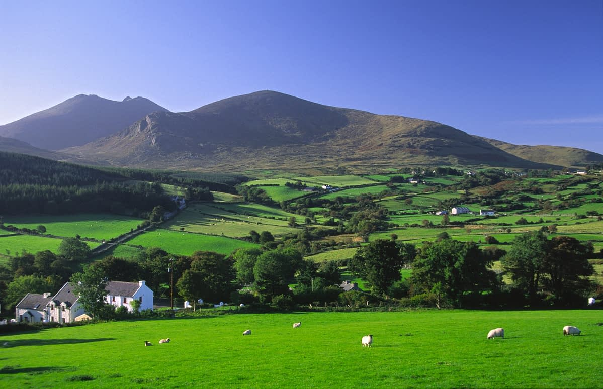 Rural farm beneath the Mourne Mountains, Co Down, Northern Ireland.
