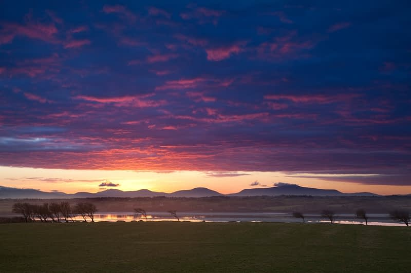 Sunset over the River Moy and Nephin Beg Mountains, Co Sligo, Ireland.