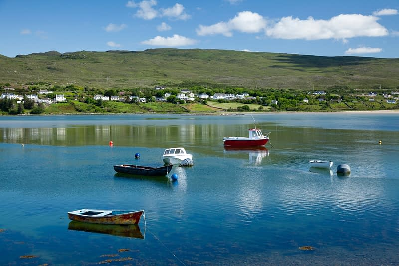 Fishing boats moored near Mulranny Pier, Co Mayo, Ireland.
