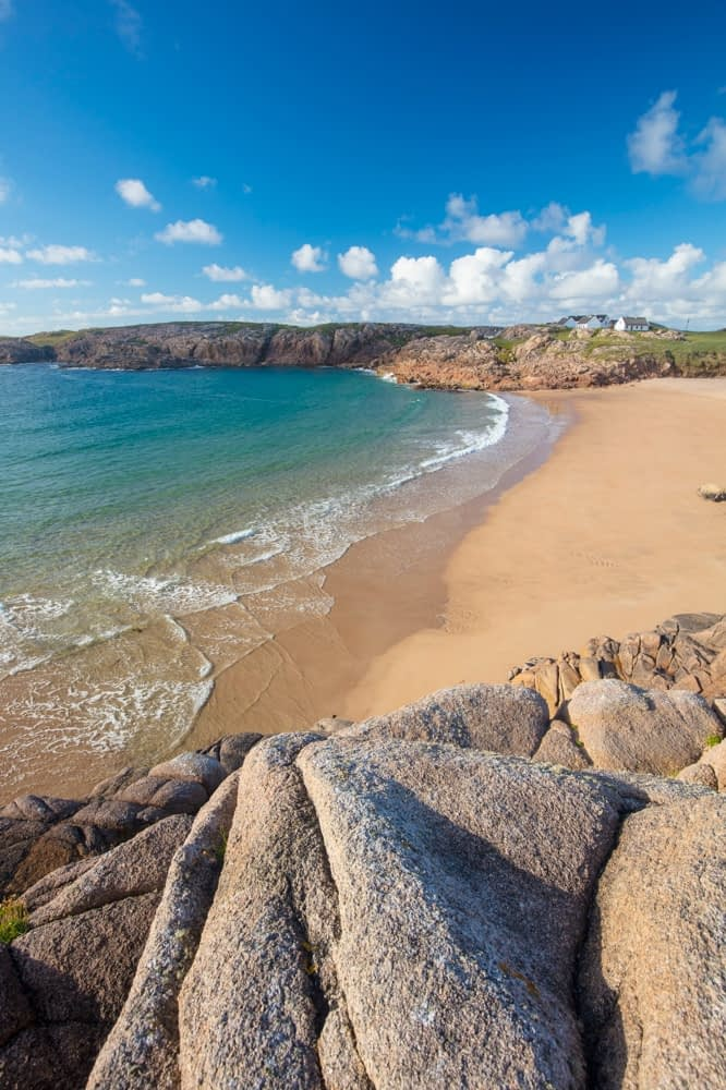 Sandy cove in Traderg Bay, Cruit Island, The Rosses, County Donegal, Ireland.