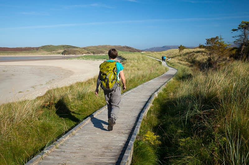 Walking along the Sand Dune Trail, Ards Forest Park, County Donegal, Ireland.