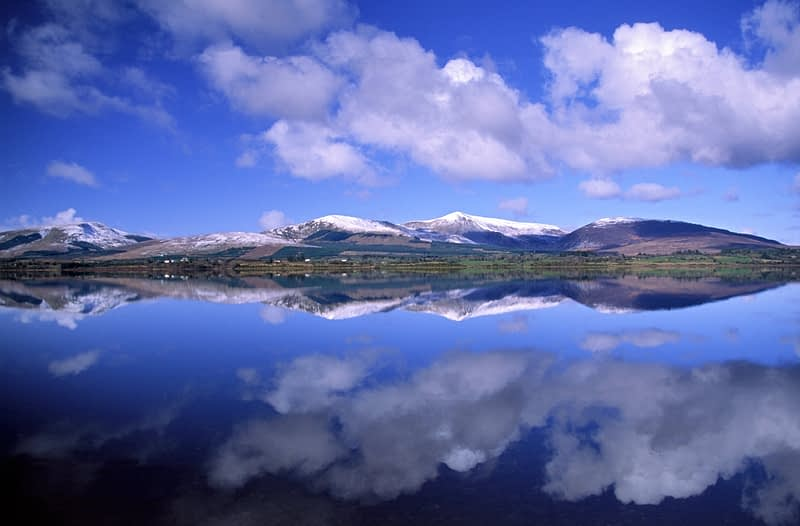 Nephin Beg Mountains reflected in Beltra Lough, Co Mayo, Ireland.