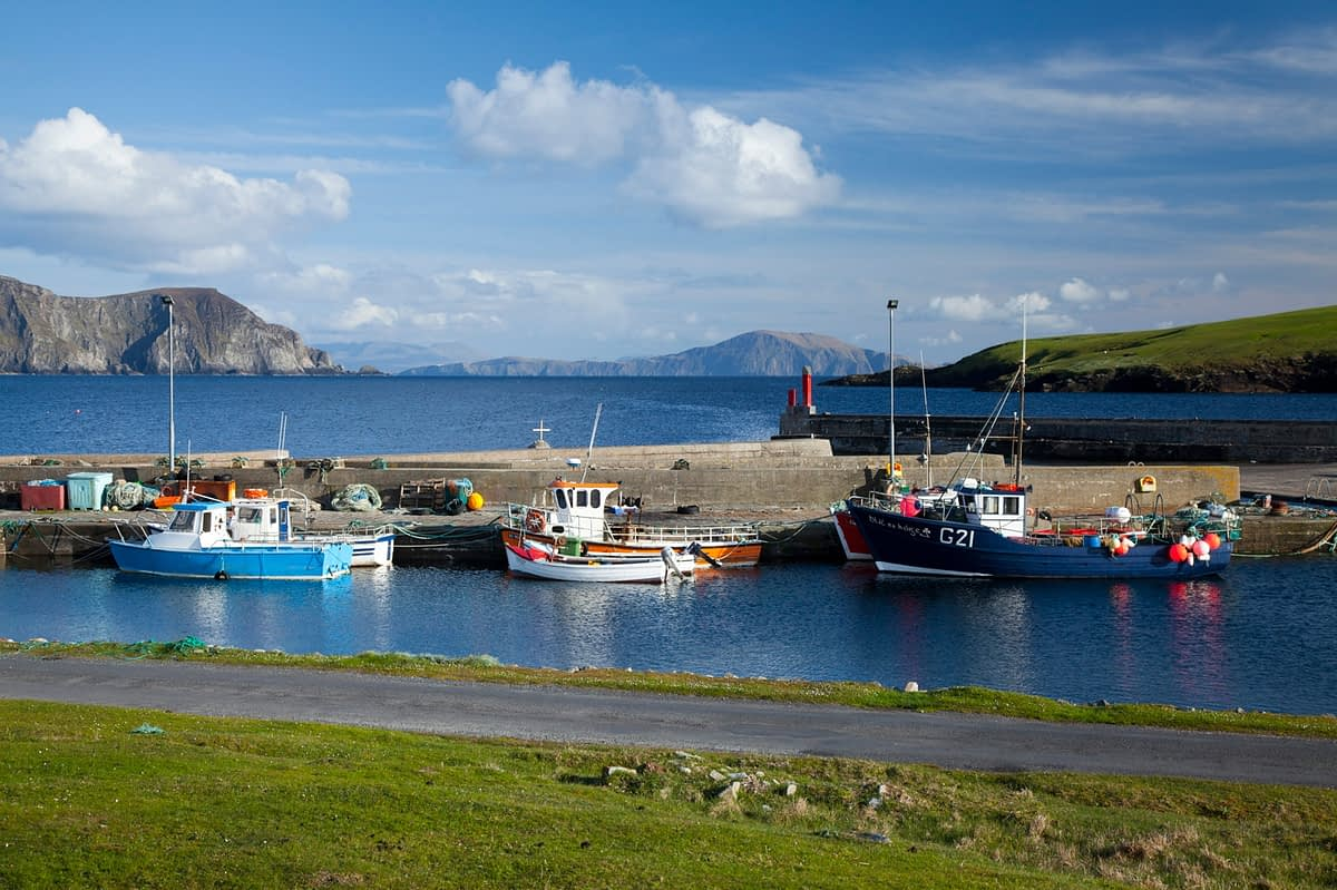 Fishing Boats at Purteen Harbour, Achill Island, County Mayo, Ireland.