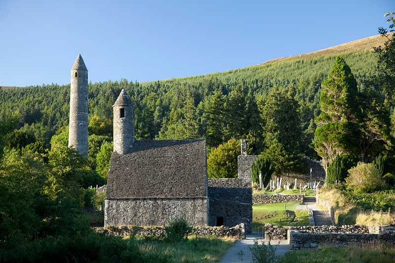 St Kevin's church and round tower, Glendalough monastic site, Co Wicklow, Ireland.