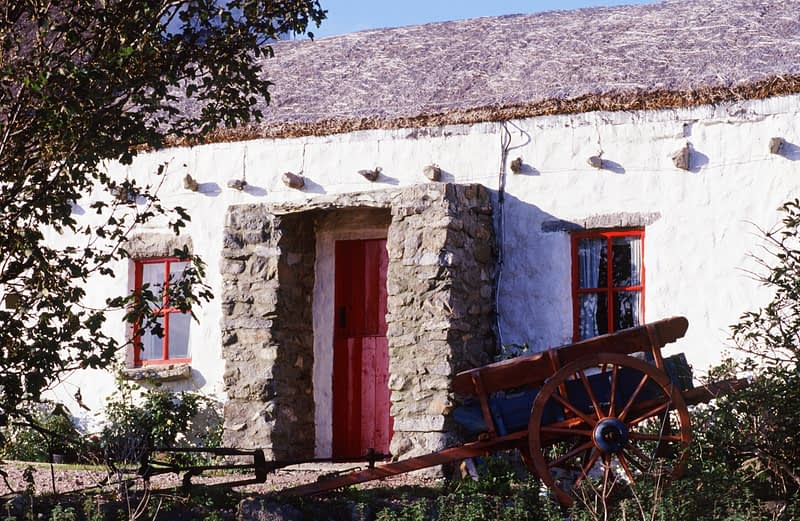 Traditional cottage at Rinboy Point, Fanad Head, Co Donegal, Ireland.